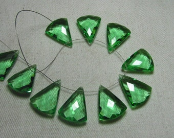 4 Matched Pair - AAAA - High Quality Gorgeous Green FLOWRITE  colour QUARTZ Fancy Shape Briolett  Sparkle Huge size - 14x19 mm - drilled