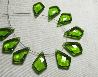 4 Matched Pair - AAAA - High Quality Gorgeous Peridot Green  colour Quartz Fancy Tie Shape Briolett Super Sparkle Huge size - 12x18 mm