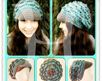Custom Crocheted Spellbound Slouch Hat with Brim PATTERN by Harvester Products
