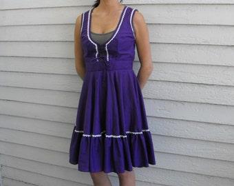 Dirndl Dress Purple Square Dance Country Maid Vintage Western S