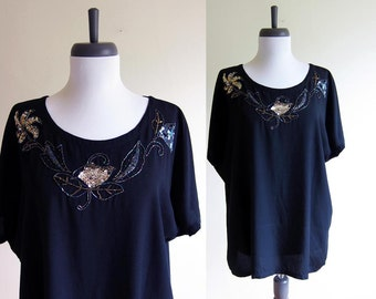 Vintage 1990s Blouse / HOLIDAY Beads & Sequins Black Rayon Slouch Blouse / Size Large or XL