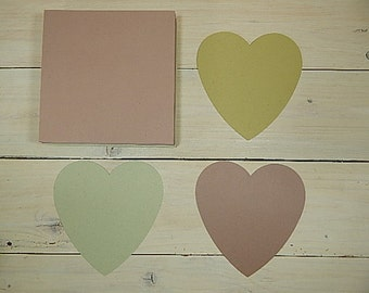 10 x Quality Large Heart Shaped Recycled Flat Cards Using Natural Raw Material By-Products 3 Colour Choices