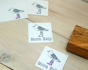 Custom Seagull in Wellies Olive Wood Stamp