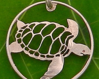 Turtle  Hand Cut Coin Jewelry
