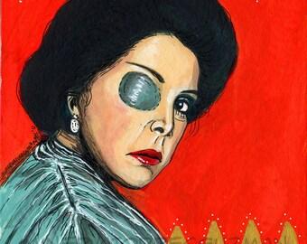 Cuna De Lobos Catalina Creel Mexican Pop Art Painting - 4x4in Panel