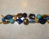 Beaded Interchangeable Blue and Gold Watch Band, Gold Watch Band, Blue and Gold