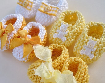 Unisex boy baby shower decorations: 4 pairs hand knit mini booties - 2 inches - shades of yellow and white - DECORATION SIZE ONLY
