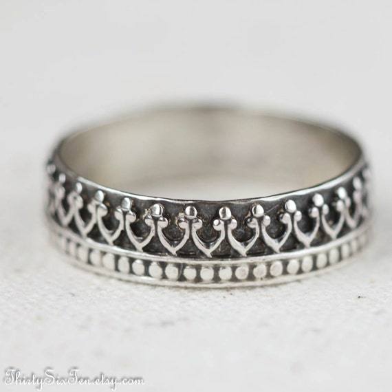 items similar to crown ring sterling silver band wedding