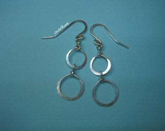 Double loops sterling silver earrings