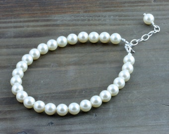 Classic Cream Swarovski Pearl Bracelet with Sterling Silver Findings