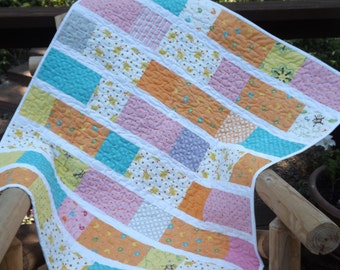 Modern Patchwork Kate Strain Fabric Grow With Me Baby Girl Quilt with Flannel