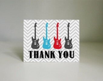 ROCK GUITAR Thank You Card in Red and Turquoise Aqua Blue- Instant Printable Download