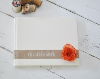 Custom Wedding Album Design - Velvet Sash & Handmade Silk Flower Custom Book design by Claire Magnolia