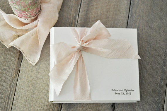 Baby Shower Guest Book - Personalized Photo Album - Silk Dupioni Bow by Claire Magnolia