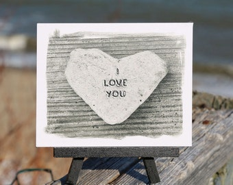 Romantic Beach Theme Sentiment I Love You Photo on Small Black Wood Easel, heart stone, unique gift for girlfriend, coastal décor, word art