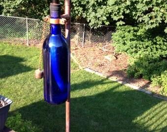 Outdoor Copper Wine Bottle Tiki Torch Kit