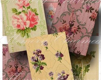 Vintage Wallpaper Digital Collage Sheet SALE!!!  Digital Download - Vintage Floral ATC #5 - Shabby Roses, Flower Pattern INSTANT Download