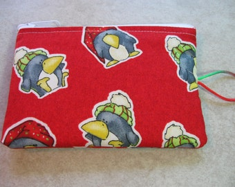 very cute penguin wearing hats padded makeup jewelry bag