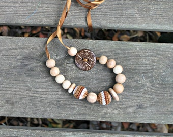 Discs Coconut Button Brown White Nursing Necklace / Teething Toy / Teething Necklace Made In Israel