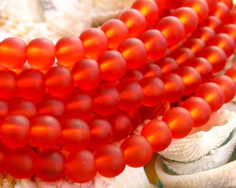 "1 / 2 str 8"" Tangerine Orange 6mm sea beach velvet glass beads matte frosted small round"