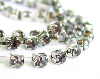 3 feet smokey GREY 3mm 12SS Rhinestone silver color RHODIUM plated brass chain trim - middle east stone - 36 inches