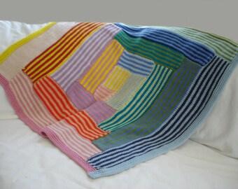 Baby blanket KNITTING PATTERN- Striped Log Cabin Baby Blanket pdf