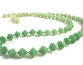 Green beaded necklace polymer clay bi cones