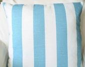 Decorative Throw Pillow Covers Nautical Pillows Cushion Covers Coastal Blue White Stripe Aqua Nautical Stripe Pillows, Pair of Two 18 x 18