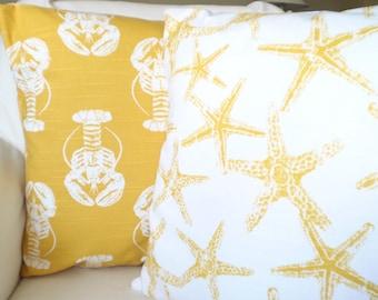 Yellow Nautical Pillow Covers Throw Pillows Nautical Cushions Yellow White Lobster Starfish Beach Cottage Patio Set of Two Various Sizes