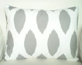 Gray Ikat Lumbar Pillow Cover, Decorative Throw Pillows, Cushion Covers, Grey White Ikat Chipper, Couch Bed Sofa, One 12 x 16 or 12 x 18