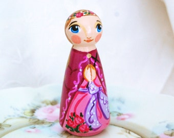 St Adelaide Wooden Toy - Catholic Saint Doll - Made to Order