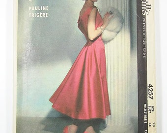 "Sz 18/Bust 38"" - Vintage 1950s Dress Pattern - McCall's 4257 - PAULINE TRIGERE - Misses' One-Piece Coctail Dress"