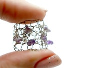 amethyst ring raw amethyst chips wide ring titanium steel wire knit jewelry wire mesh ring February birthstone ring gift for her