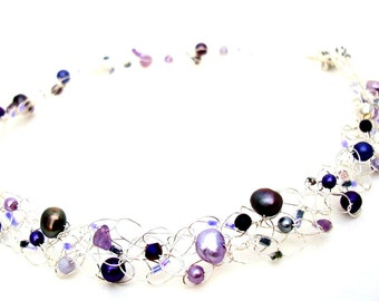 beaded choker pearl choker February birthstone amethyst purple gemstone necklace silver choker delicate necklace birthday gift for her