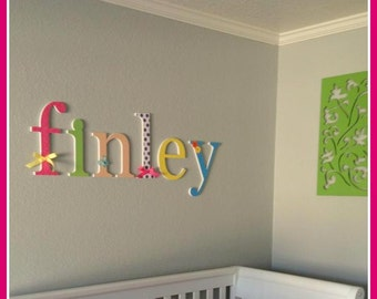 Rainbow Baby Girl Nursery, Custom, Wooden Letters,Finleys Theme, bright colors, wall letter decor, rainbow, dots, stripes, hanging name