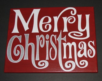 Merry CHRISTmas Canvas Holiday Decoration Wall Art 11x14