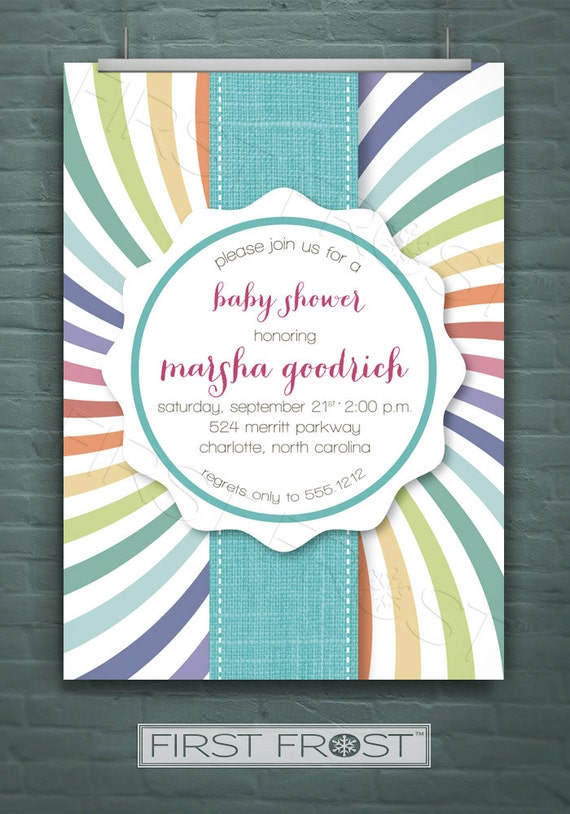colorful rainbow and ribbon printable invitation baby shower