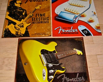 3 Fender Guitar Advertisment Tin / Metal Signs / Fender