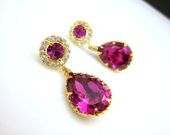 bridesmaid gift Swarovski fuchsia teardrop foiled crystal rhinestone crystal with gold plated cubic zirconia decorated round post earrings.