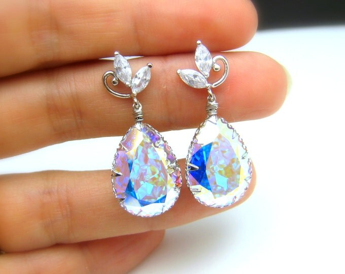 Swarovski clear white AB teardrop foiled crystal pendant with luxury white gold silver post earrings wedding bridal earrings