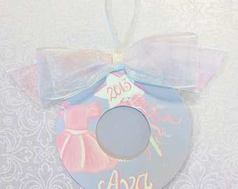 Hand Painted Girls Photo Ornament