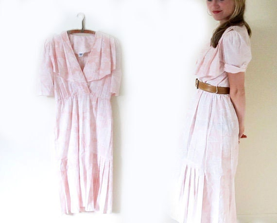SALE // vintage 1980s dress // pink and white // floral print // oops california // pintuck // size medium m // large l