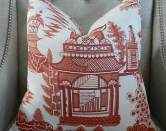 """Schumacher Nanjing print in Coral - 20""""X20"""" - Pattern on the front"""