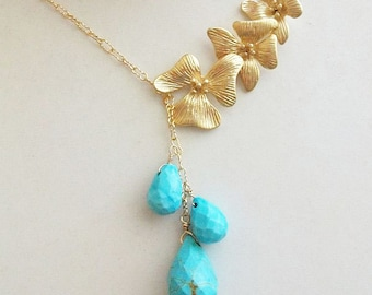 Turquoise Necklace, Lariat Necklace, Briolette, Turquoise, Gold or Silver, 14k Gold Fill, Gift for Her, Mom, Sister, Bridesmaids