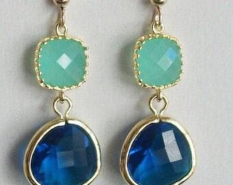 Mint Earrings, Royal Blue Earrings, Blue gold earrings, Mint gold Earrings, Glass Earrings - Wedding, Bridesmaid, Bridal Earrings
