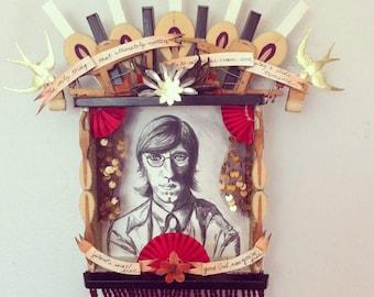 Ray Manzarek Doors Keyboardist Altar Ofrenda Original Artwork with real piano parts, free shipping