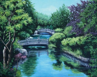 Art Print 11x14 Landscape Giclee - Japanese Garden View - Two Bridges over Garden Pond