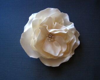 Ivory Bridal Hair Clip,  Peony Flower, Handmade Wedding