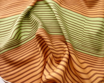 vintage silk geometric striped SCARF - hand rolled, green, gold, brown, made in ITALY