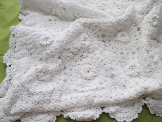Two Shabby Chic Crocheted PILLOW SHAMS white by JunqueDuJour